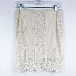 ! J.O.A Los Angeles | Cream Lace Pencil Skirt